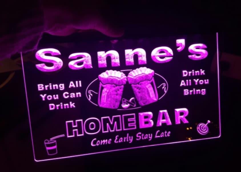 Custom home bar light sign personalized name led