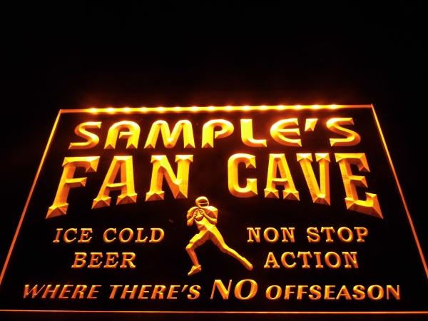 Man Cave Illuminated Signs : Football fan cave sign custom mancave lighted decor