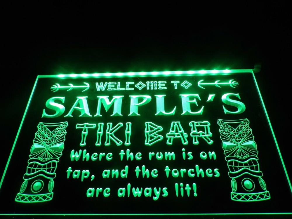 Tiki Bar lighted sign Personalized bar pub light display