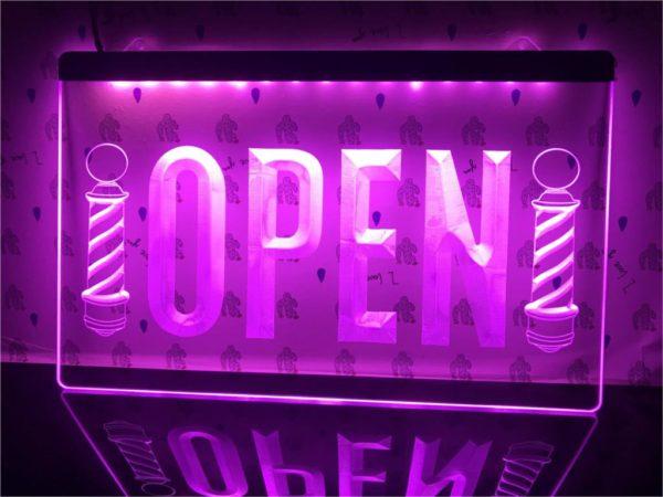 Barber lighted door sign Open hair shop LED display 5