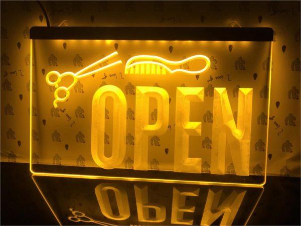 OPEN Hair saloon door sign Barber LED window display 1