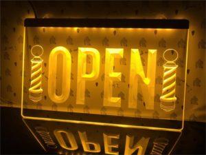 Barber lighted door sign Open hair shop LED display 3