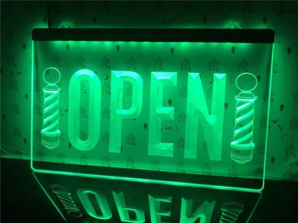 Barber lighted door sign Open hair shop LED display 4