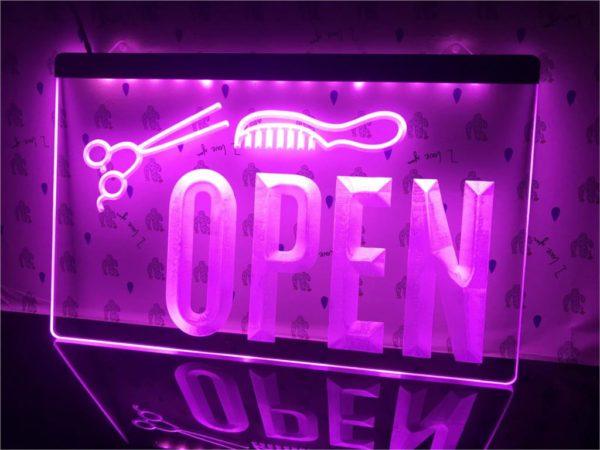 OPEN Hair saloon door sign Barber LED window display 3