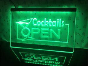 Open bar LED sign OpenCocktails Bar Pub window lights display 1