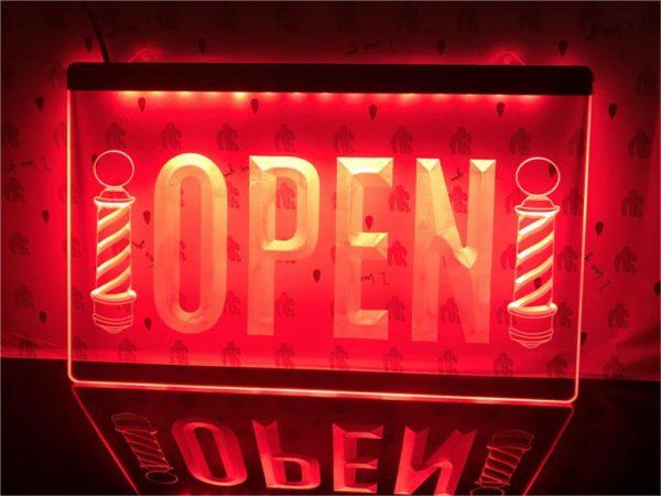 Barber lighted door sign Open hair shop LED display 1