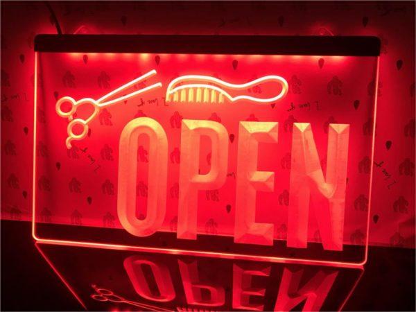 OPEN Hair saloon door sign Barber LED window display 4