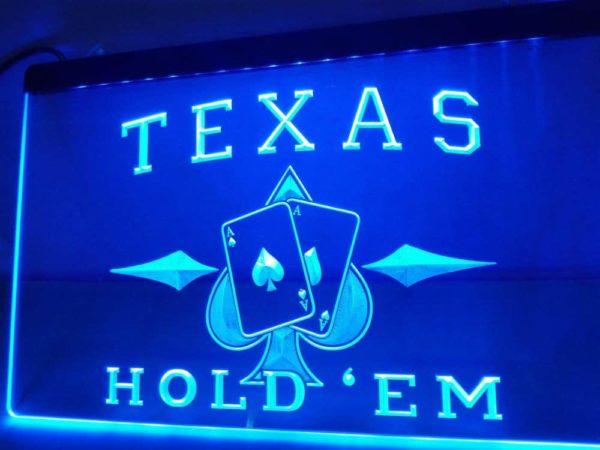 Poker lighted sign Texas Hold'em Man Cave LED decor