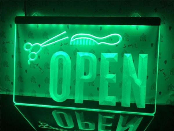 OPEN Hair saloon door sign Barber LED window display 2