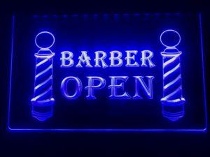 Open Barber LED sign lighted door window display  4