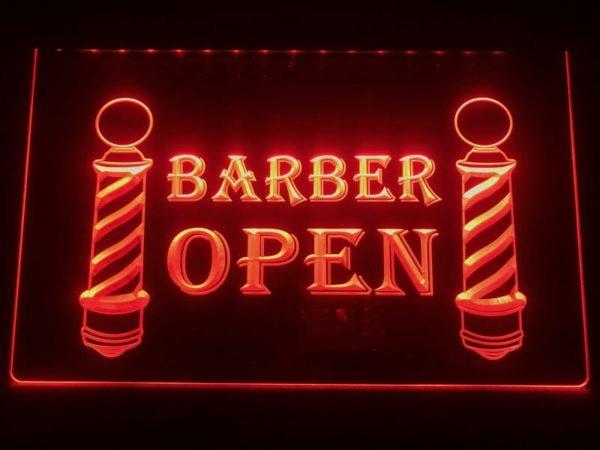 Open Barber LED sign lighted door window display