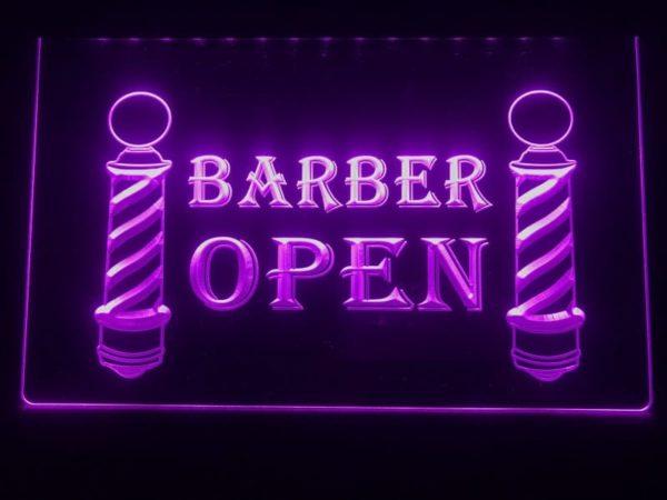 Open Barber LED sign lighted door window display  1