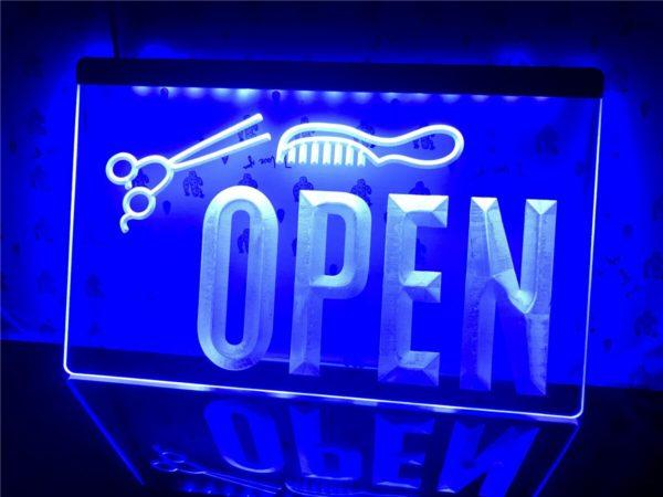 OPEN Hair saloon door sign Barber LED window display
