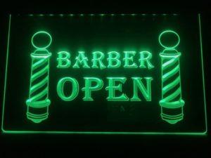 Open Barber LED sign lighted door window display  5