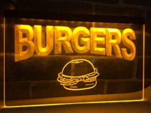 Burgers bar LED sign hamburger restaurant lighted door sign 2