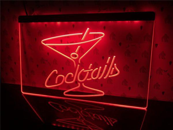 Cocktails Bar lighted sign bar pub LED door display