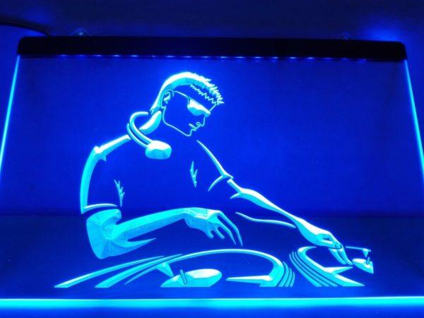 DJ Led lighted sign Disc Jockey DJ music studio LED sign
