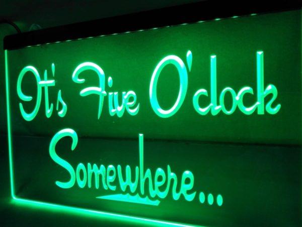 It's 5 O'Clock Somewhere LED sign Home bar pub lighted decor 1