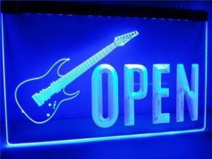 Open Guitars LED sign guitar shop lighted door sign