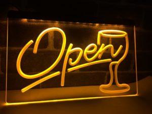 Open wine LED sign Cocktails Bar pub lights entry display