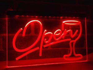 Open wine LED sign Cocktails Bar pub lights entry display 2
