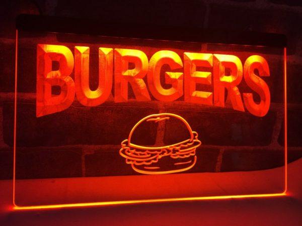 Burgers bar LED sign hamburger restaurant lighted door sign