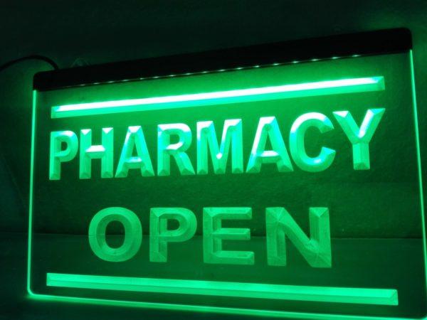 Open Pharmacy lighted sign Drug store LED door entry sign