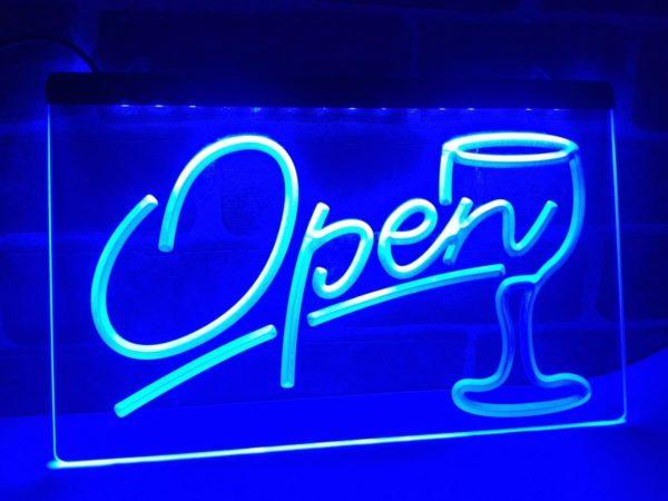 Open wine LED sign Cocktails Bar pub lights entry display 3
