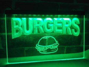Burgers bar LED sign hamburger restaurant lighted door sign 4