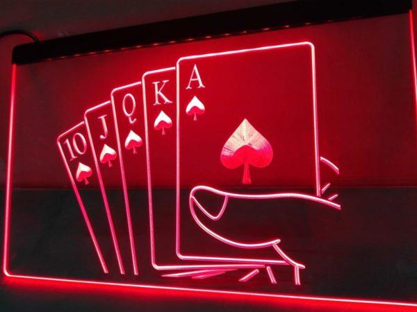 Poker man cave lighted sign Royal Flush LED decor