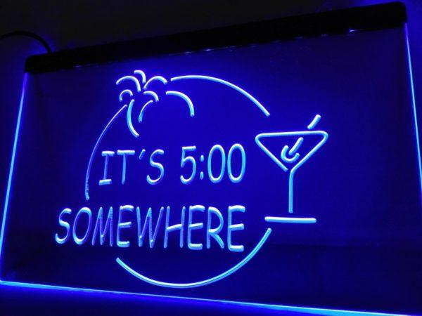 Its 5pm somewhere lighted sign Bar pub LED window display