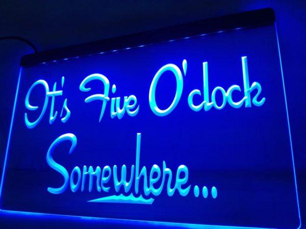 It's 5 O'Clock Somewhere LED sign Home bar pub lighted decor