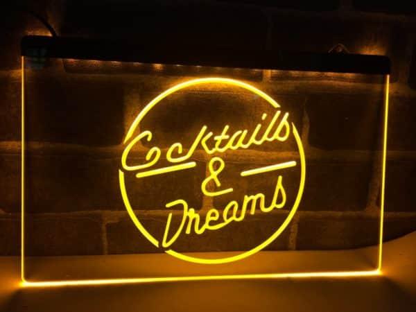 Cocktails & Dream lighted sign Home bar pub LED hanging sign 4
