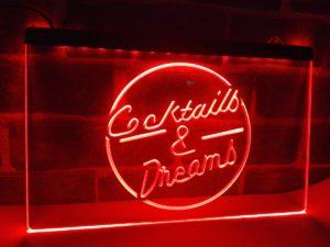 Cocktails & Dream lighted sign Home bar pub LED hanging sign