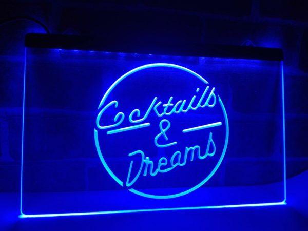 Cocktails & Dream lighted sign Home bar pub LED hanging sign 1