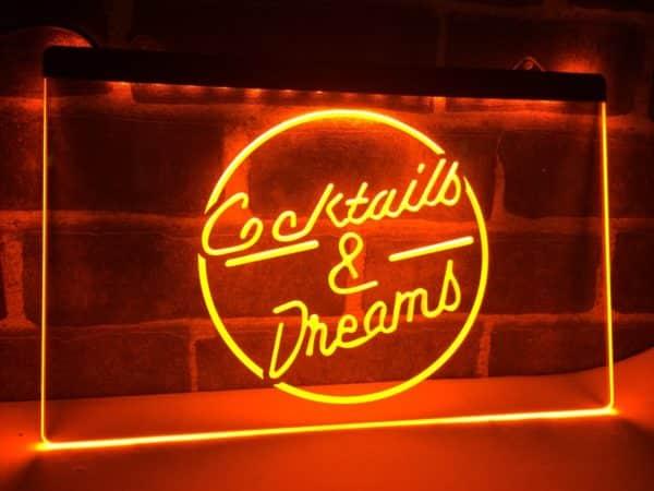 Cocktails & Dream lighted sign Home bar pub LED hanging sign 3