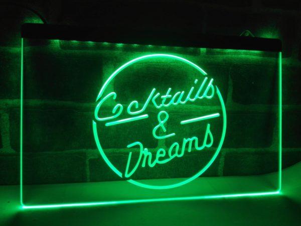 Cocktails & Dream lighted sign Home bar pub LED hanging sign 2